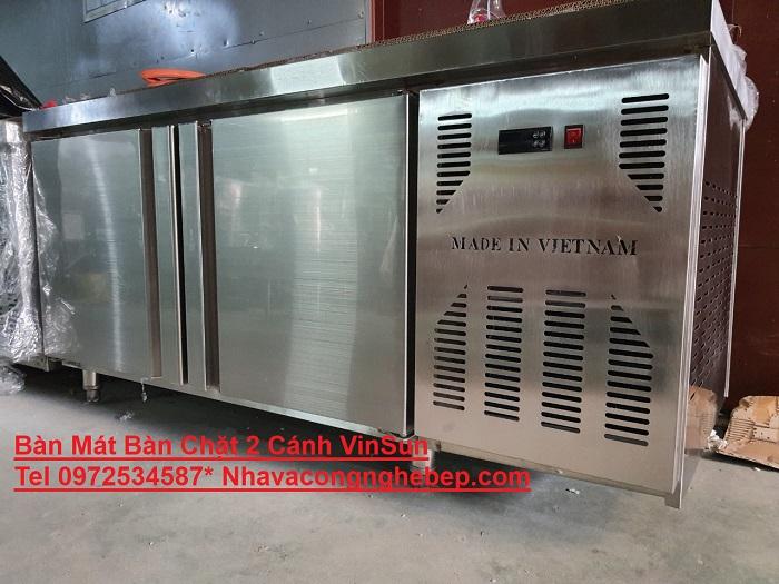 Tủ Mát Bàn Chặt Inox 1M5 Có Quạt Lạnh Inverter VinSun