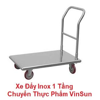 Xe Đẩy Inox Chuyển Thực Phẩm Đồ Thức Ăn 1 Tầng VinSun