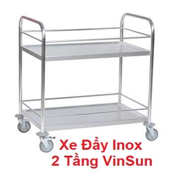 Xe Đẩy Inox Chuyển Thực Phẩm Đồ Thức Ăn 2 Tầng VinSun