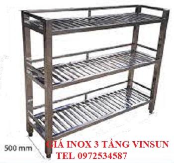 Giá Inox 3 Tầng Để Bát Đĩa Dài 1m VinSun