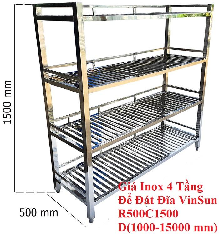 Giá Inox 4 Tầng Để Bát Đĩa Dài 1,5m VinSun