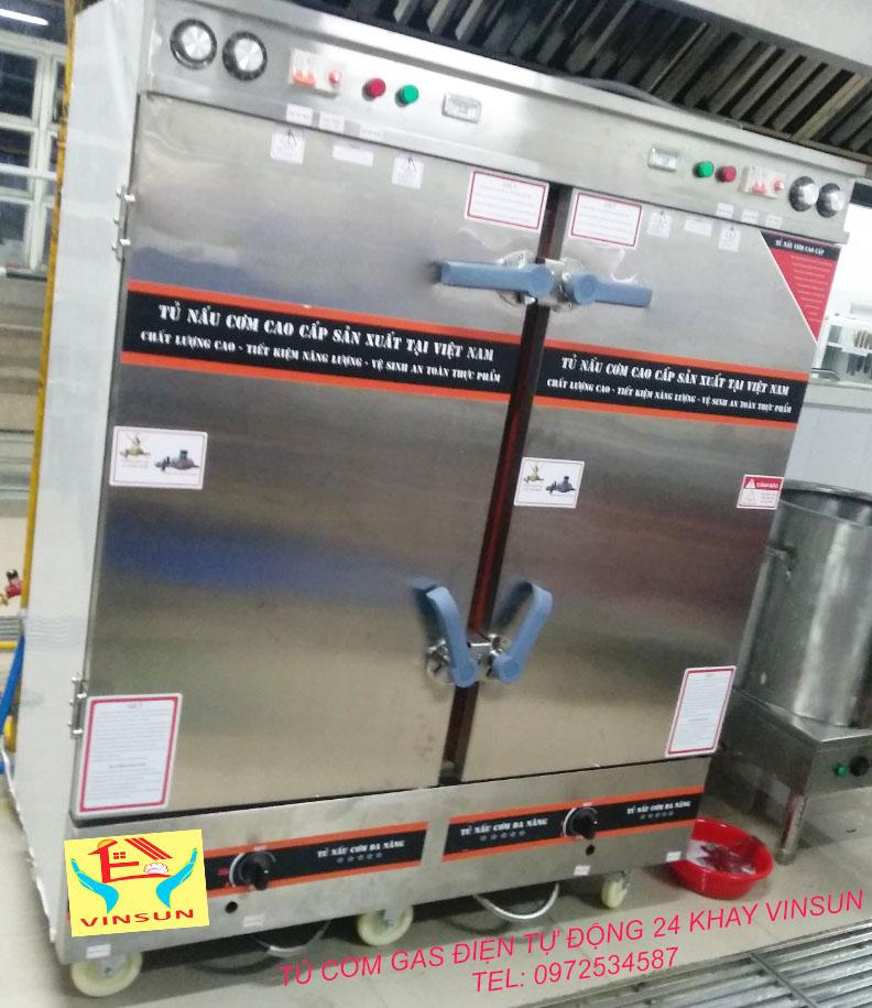 Tủ Nấu Cơm 24 Khay Gas Điện Hẹn Giờ VinSun