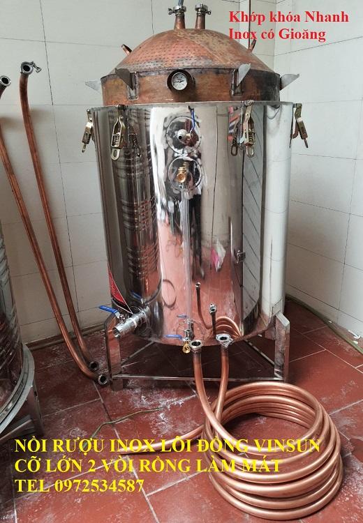 Nồi Nấu Rượu Bằng Inox Lõi Đồng 120 Kg Gạo Điện Tự Động VinSun